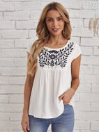 Cap Sleeve Plants Embroidered Top