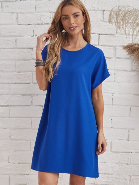 Batwing Sleeve Solid Tunic Dress