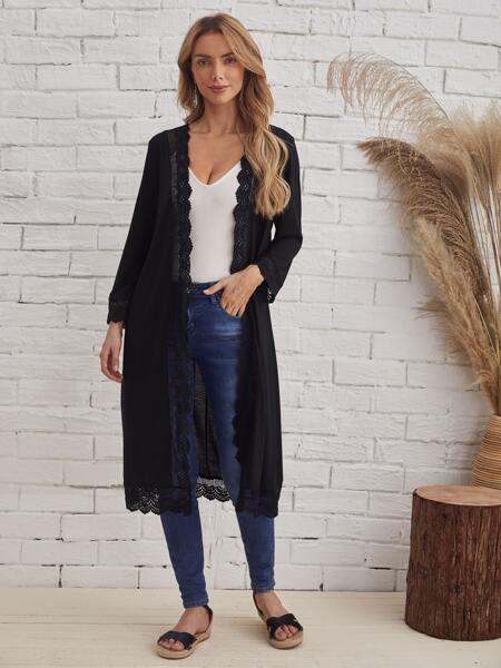 Guipure Lace Trim Open Front Coat