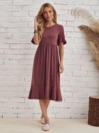 Flounce Sleeve Solid Dress
