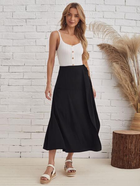 Knot Side High Waist Solid Skirt