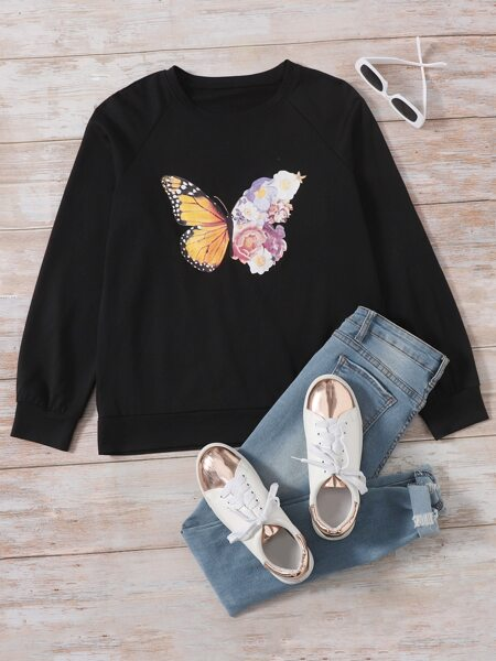 Butterfly And Floral Print Sweatshirt