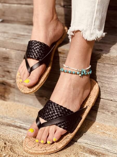Braided Band Flat Cork Thong Sandals