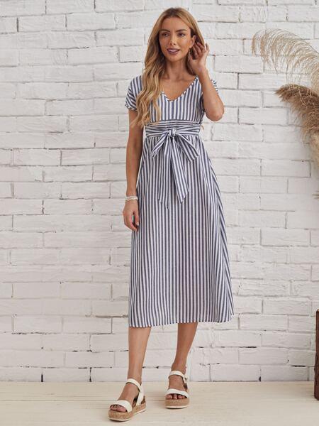 Tie Back Self Belted Striped Dress