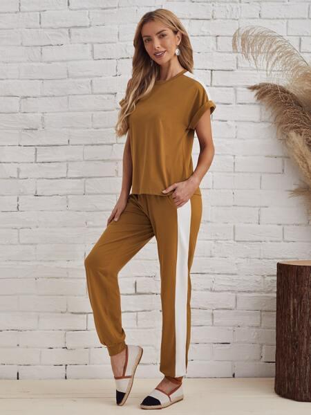 Cuffed Top & Contrast Sideseam Sweatpants Set
