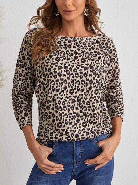 Drop Shoulder Leopard Print Tee