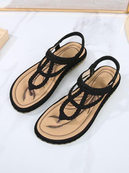 Braided Flat Thong Sandals