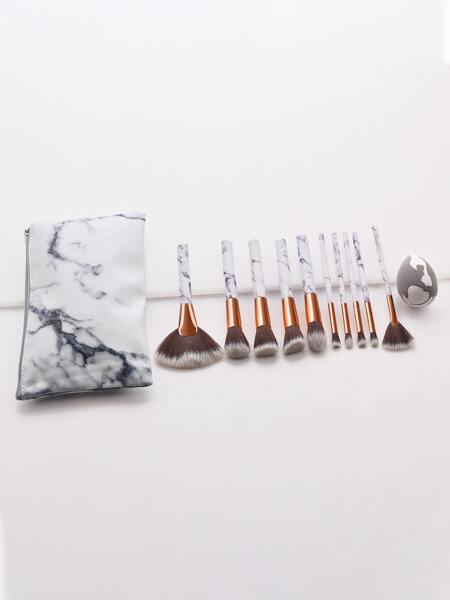 10pcs Makeup Brush & 1pc Storage Bag & 1pc Sponge