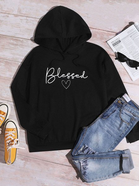 Letter And Heart Print Hoodie