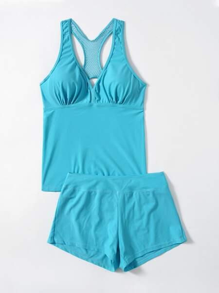 Solid Shorts Bikini Swimsuit