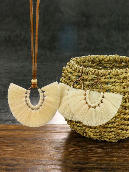 Fan Tassel Charm Necklace & Earrings