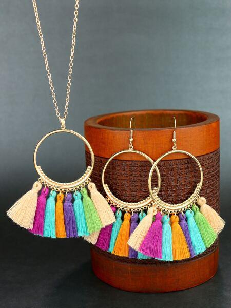 3pcs Tassel Decor Jewelry Set