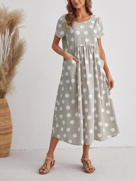 Polka Dot Pocket Detail Tunic Dress