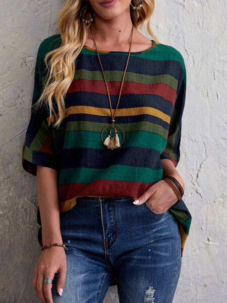 Colorblock Striped Print Batwing Sleeve Blouse