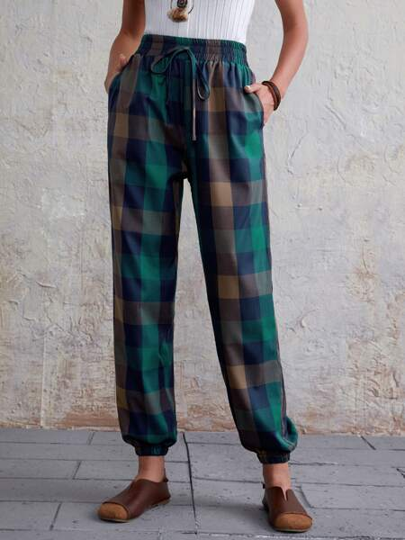 Plaid Print Slant Pocket Tapered Pants