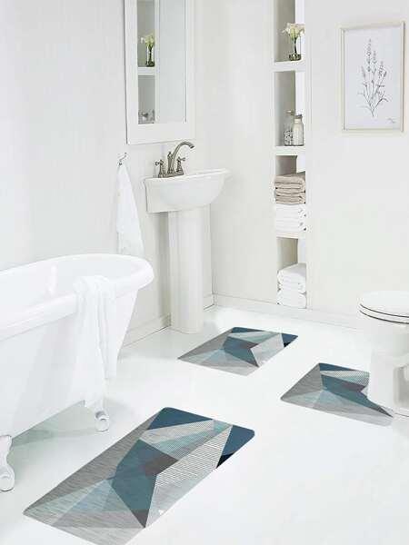1pc Geometric Pattern Bath Mat