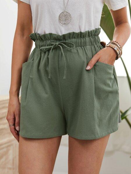 Solid Paper Bag Waist Drawstring Shorts