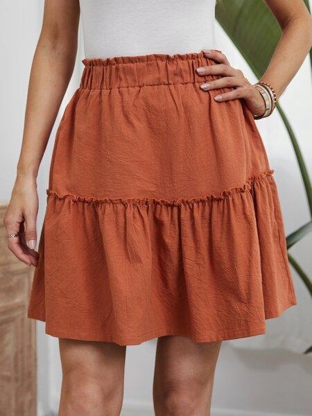 Frill Trim Ruffle Hem Skirt