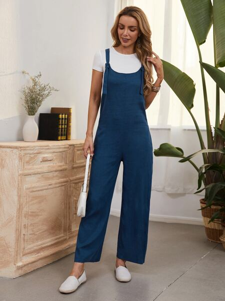 Solid Straight-leg Pinafore Jumpsuit