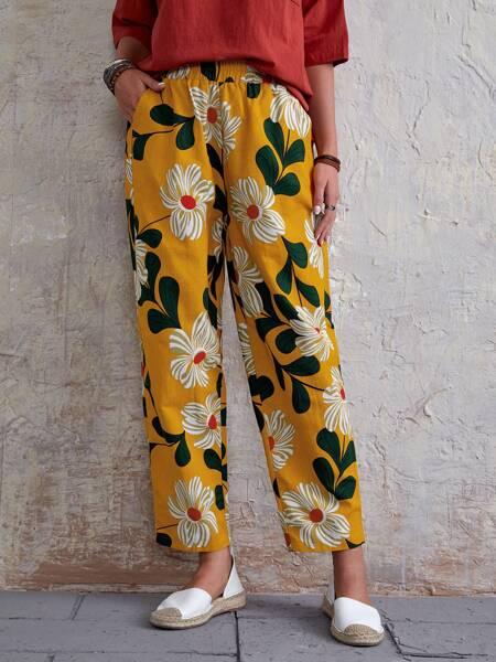 Floral Print Slant Pocket Pants