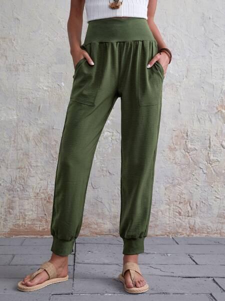 Solid Slant Pocket Wide Waistband Pants