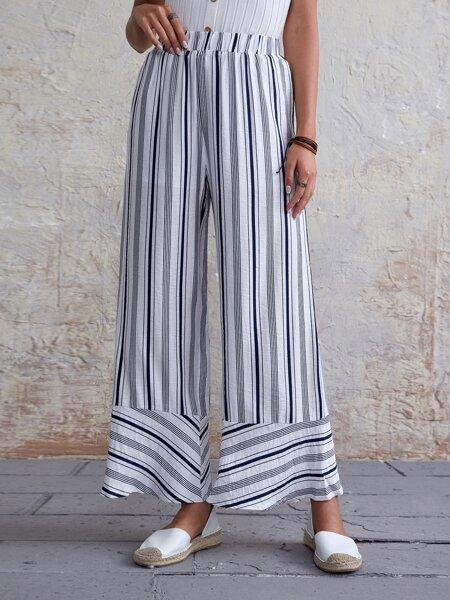 Striped Wide Leg Elastic Waist Pants