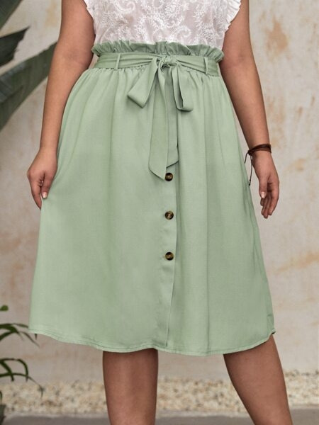 Plus Paper Bag Waist Button Front Belted Skirt