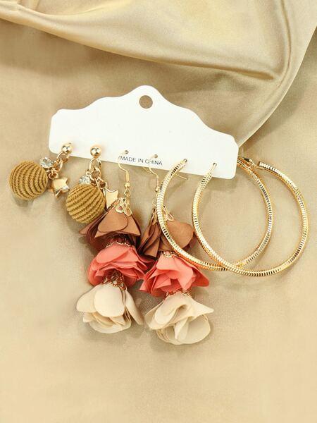3pairs Flower Drop Earrings