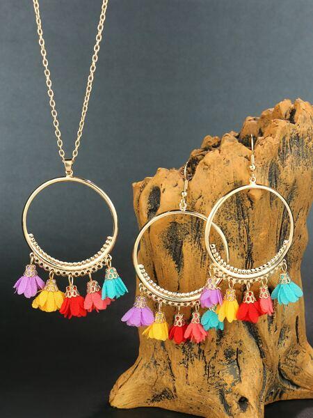 Flower Charm Necklace & Earrings