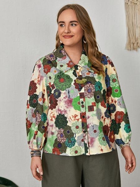 Plus Floral Print Button Up Blouse