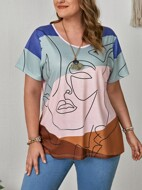 Plus Abstract Figure Graphic Tee