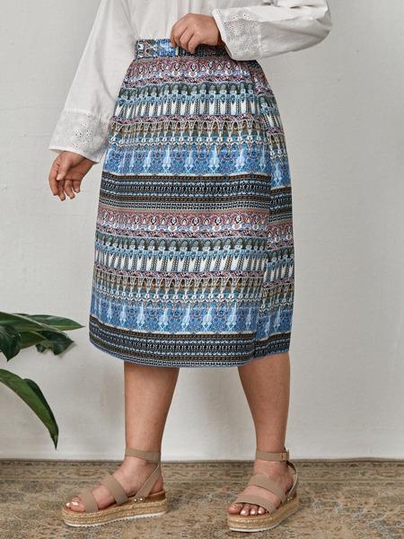 Plus Allover Print Straight Skirt