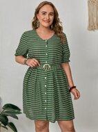 Plus Striped Puff Sleeve Dress