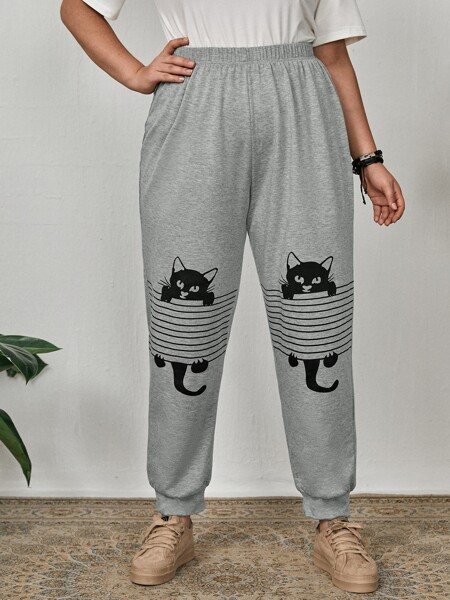 Plus Striped & Cat Print Sweatpants