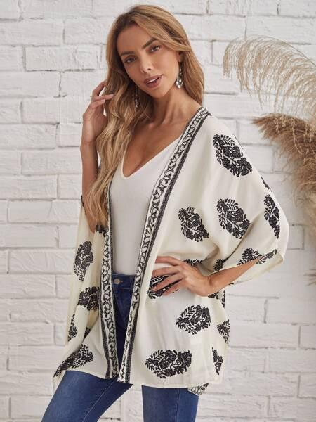 Asymmetrical Hem Graphic Print Kimono