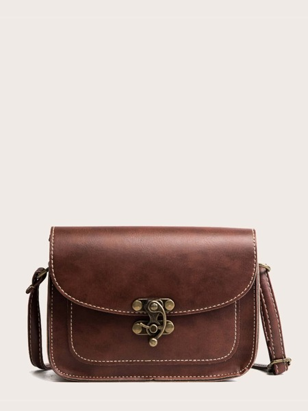 Stitch Trim Flap Crossbody Bag