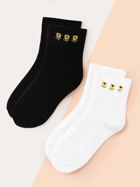 2pairs Flower Print Socks