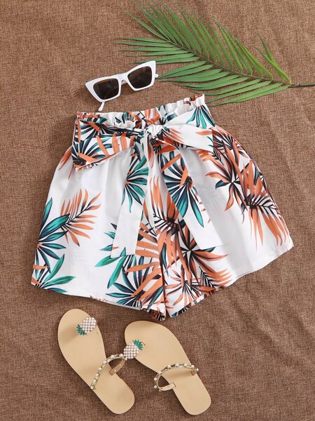 Paperbag Waist Belted Tropical Print Shorts
