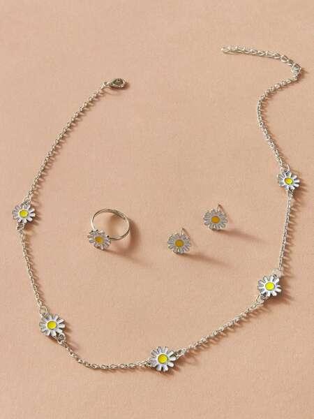 4pcs Flower Decor Jewelry Set
