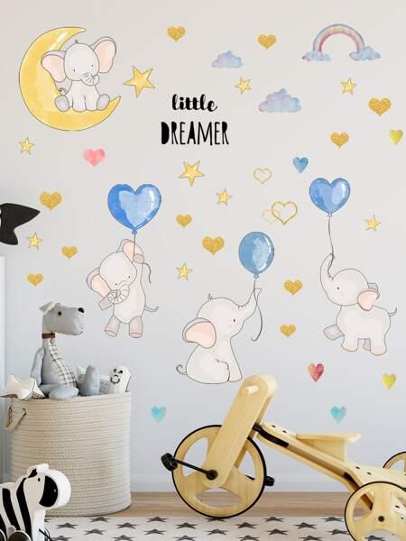Kids Cartoon Elephant Print Wall Sticker