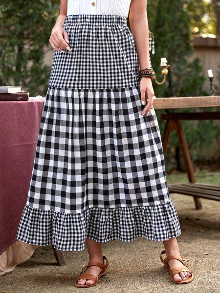 Gingham Print Ruffle Hem Slant Pocket Skirt