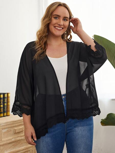 Plus Contrast Lace Batwing Sleeve Kimono