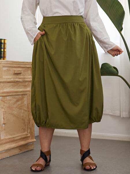 Plus Slant Pockets Lantern Skirt
