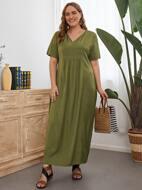 Plus V-neck Solid Tunic Dress