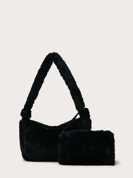 Fluffy Baguette Bag With Purse