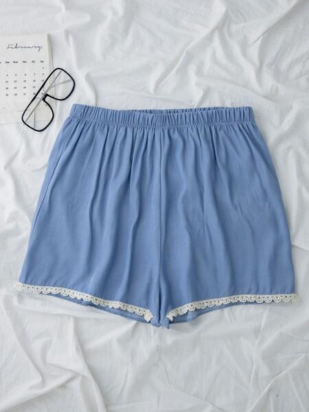 Plus Contrast Lace Shorts