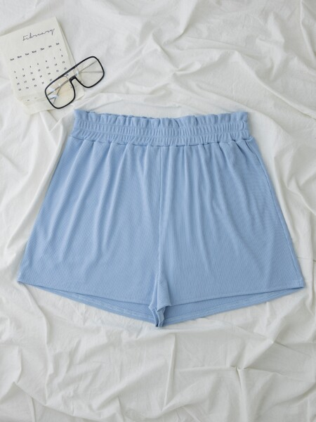 Plus Solid Paperbag Waist Track Shorts