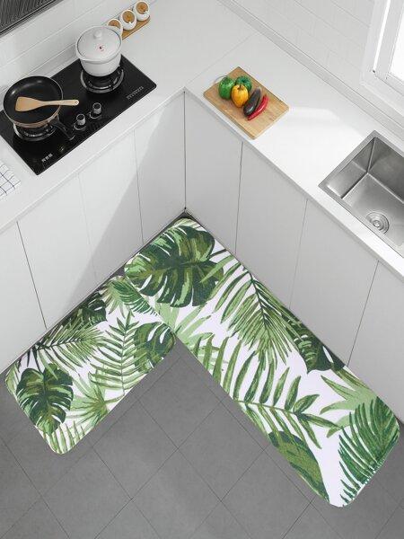 1pc Leaf Print Floor Mat