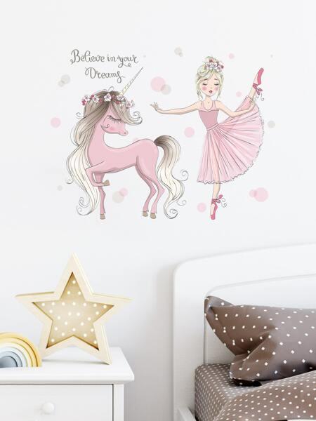 Kids Cartoon Girl Print Wall Sticker
