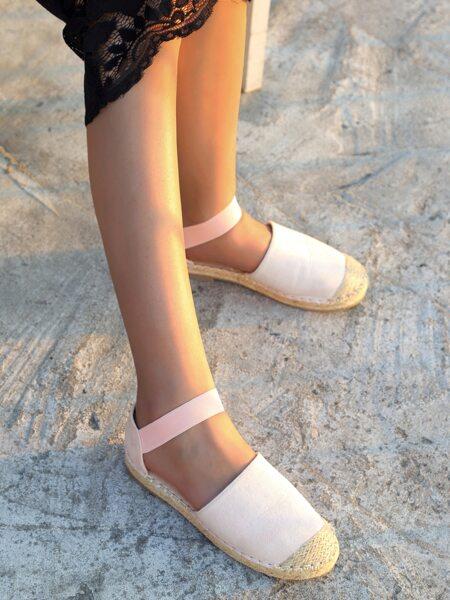 Minimalist Ankle Strap Espadrille Flats
